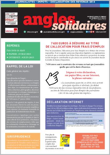 Journalistes Declaration Des Revenus 2014 Info Com Cgt