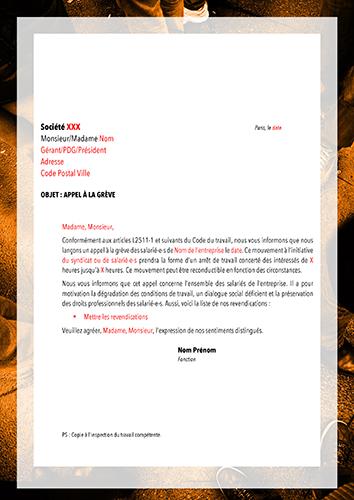 Modèle de lettre : Mouvement de grève   Info'CGT