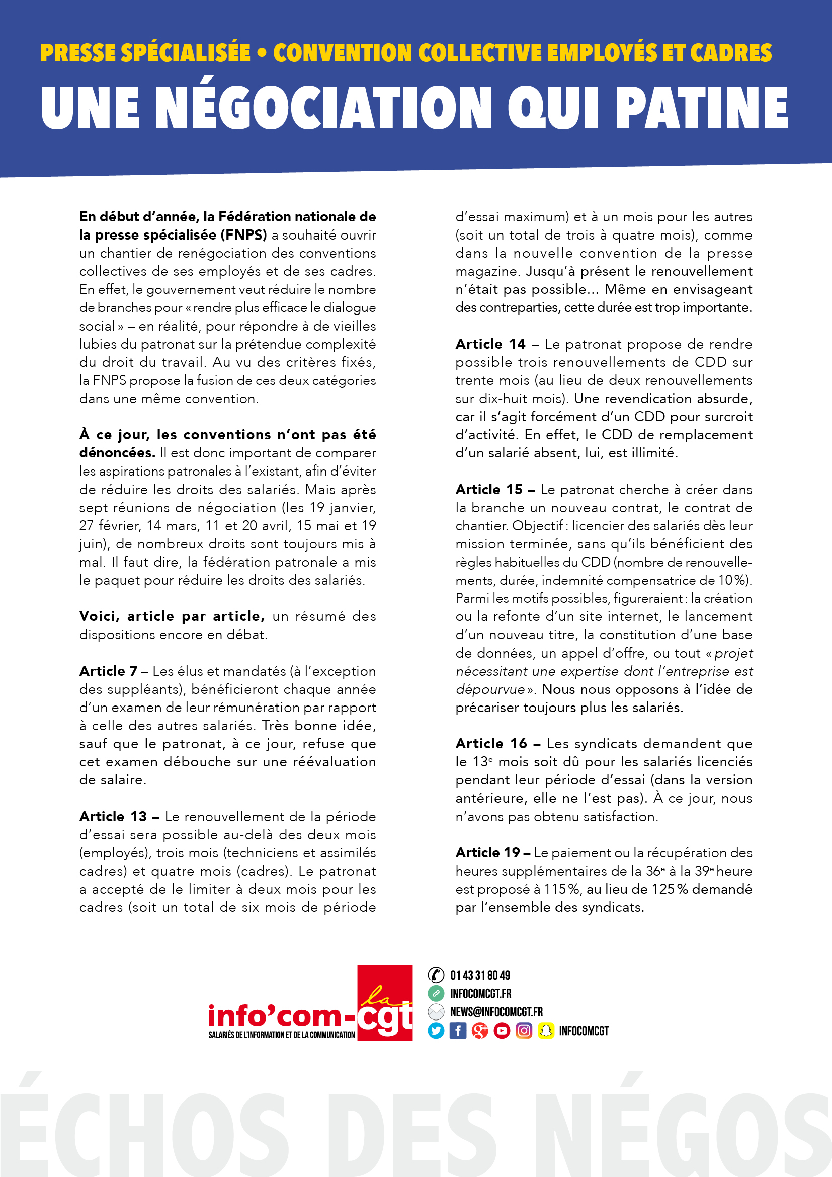 Presse Specialisee Convention Collective Employes Et Cadres Une